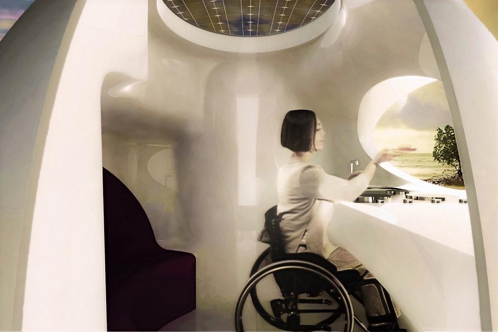 Woman in wheelchair enjoying interior of bioPOD