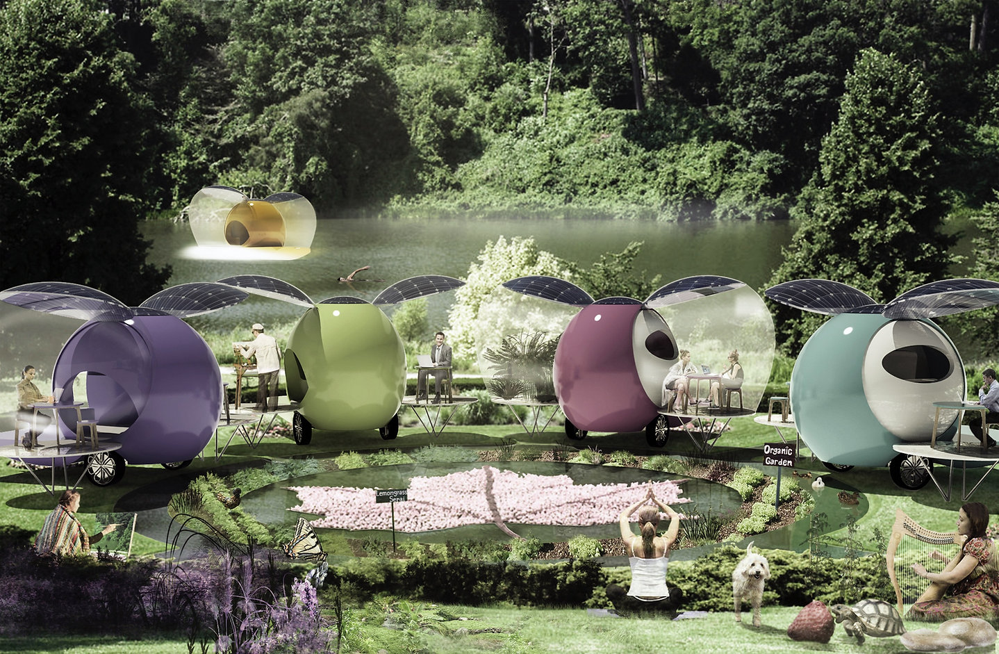 A few people in different BioPOds surrounded by water and nature