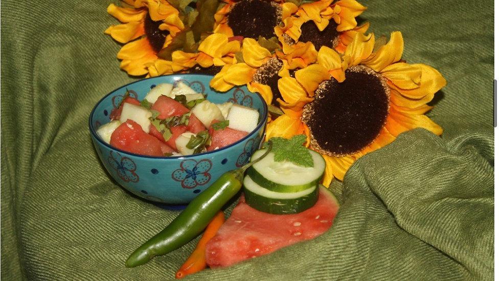 🍉🥗raw watermelon salad