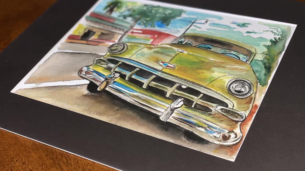 Cuban Taxi watercolor print