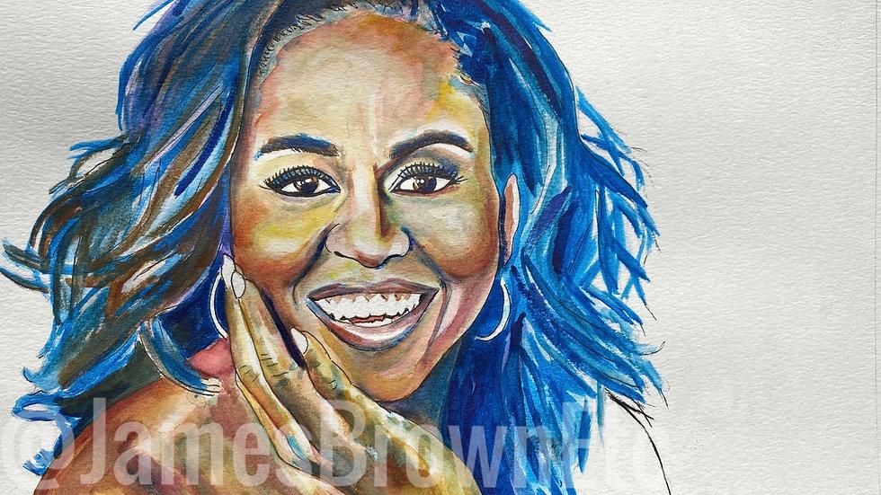 Mrs.Obama watercolor print