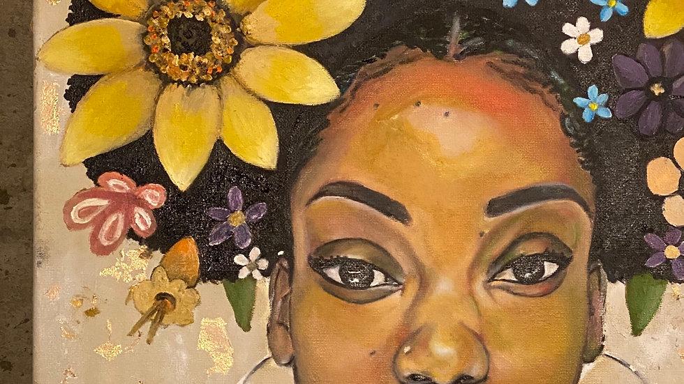 Brown Skin girl 11x14 matte frame print
