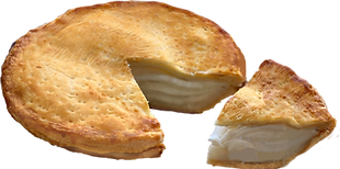 A photo of buko pie with a small slice cut out
