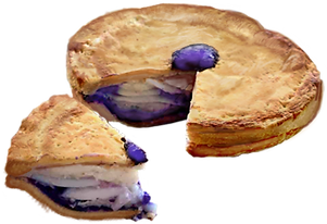 A photo of an Ube Buko Pie with a small slice cut out