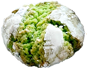 A photo of a Buko Pandan flavored crinkle cookie