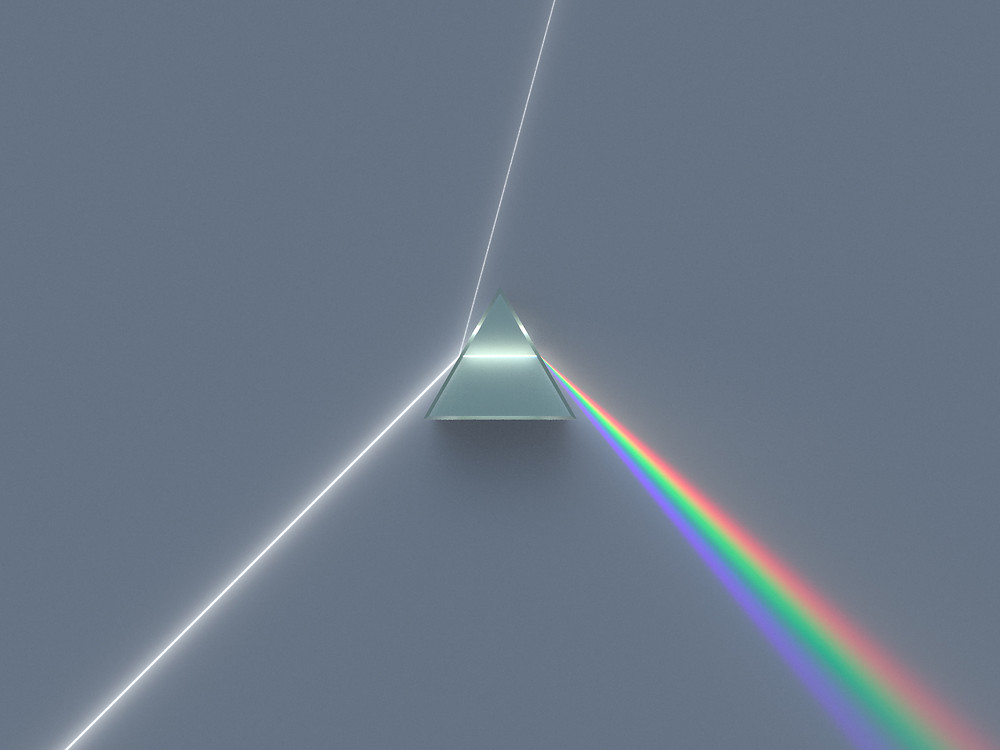 Prism separating white light into different colors. From Wikipedia.
