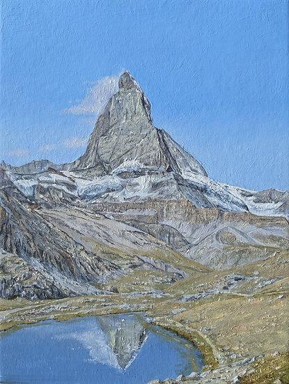 Matterhorn from Riffelsee, Switzerland Plien air painting