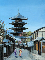 Oil painting Kyoto, Japan