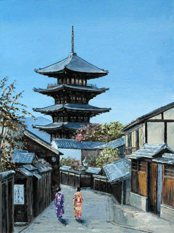 Oil painting Kyoto, Japan