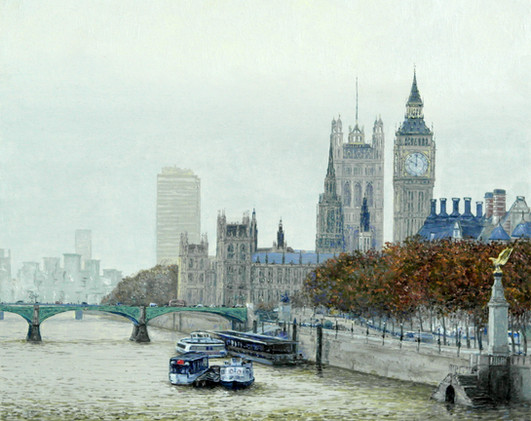 Oil painting River Thames on a misty morning, London