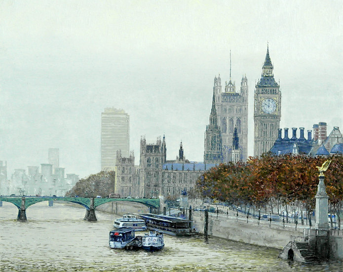 River Thames on a Misty Morning, London