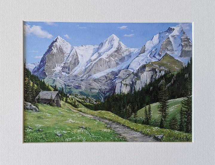 Eiger, Monch, Jungfrau from above Murren