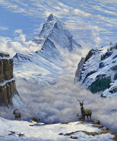 Oil painting, Matterhorn, Switzerland