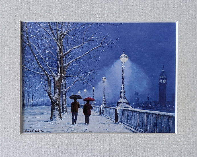 South bank, Winter Evening Snow Scene