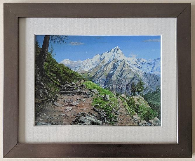 Artist signed Giclee print framed Grande Jorasses