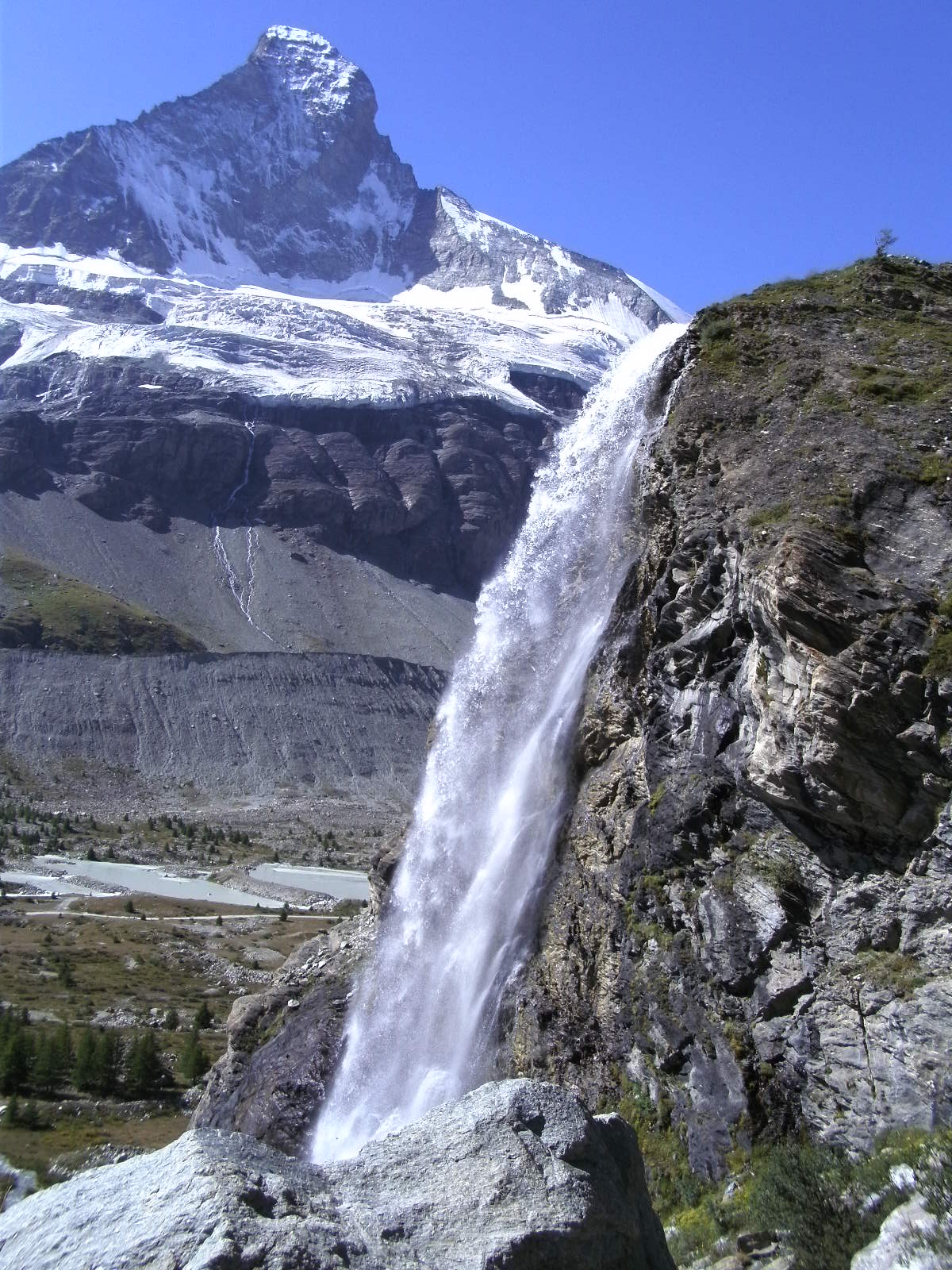 Waterfall and Matterhorn
