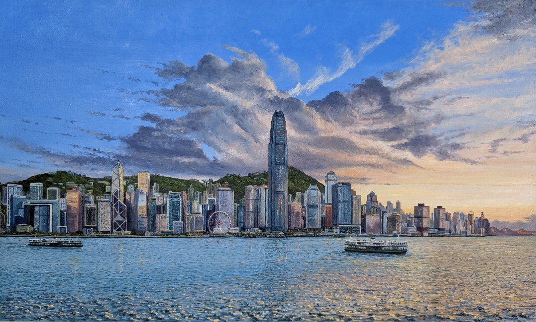 Oil painting, Hong Kong, Sunset