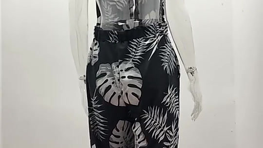 2021 new womens summer dress digital printing colorful elegant casual jumpsuit w