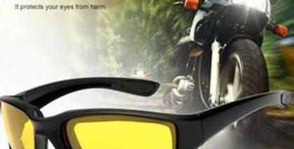 Biker's Sunglasses, FREE. Windproof Anti-Glare HiViz Yellow or Dark Polarized