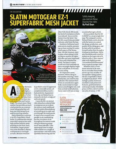 Cycle World Mag Review of SMG SuperFabric Mesh Jacket