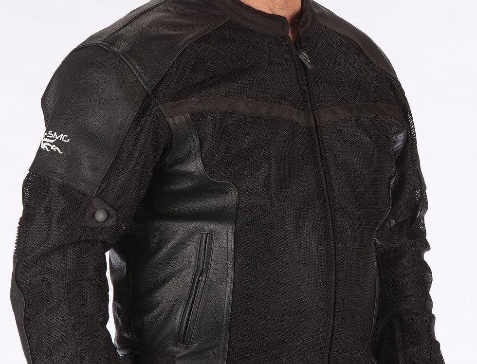 Men/Women Luxury BLACK Leather & Mesh Jacket w-Waterproof Liner