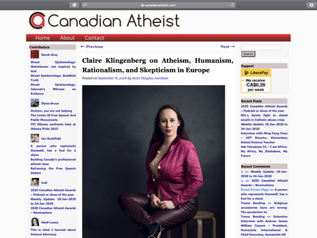 Claire Klingenberg on Atheism, Humanism, Rationalism, and Skepticism in Europe
