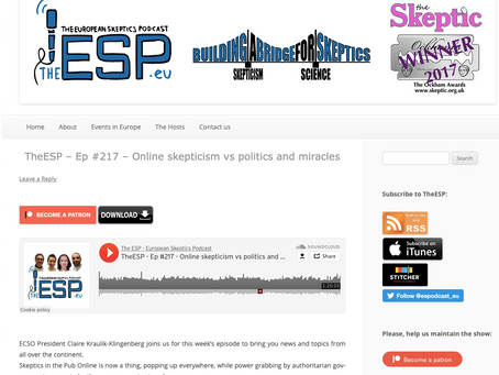 TheESP – Ep #217 – Online skepticism vs politics and miracles
