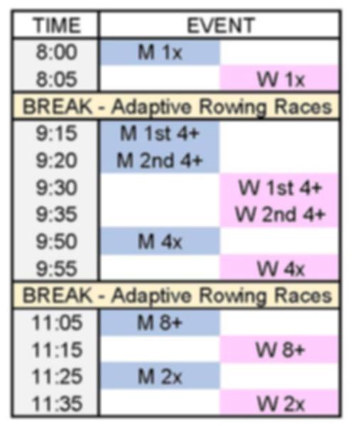White Rock Fall Classic Schedule