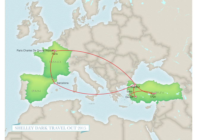 1.  A map of our itinerary