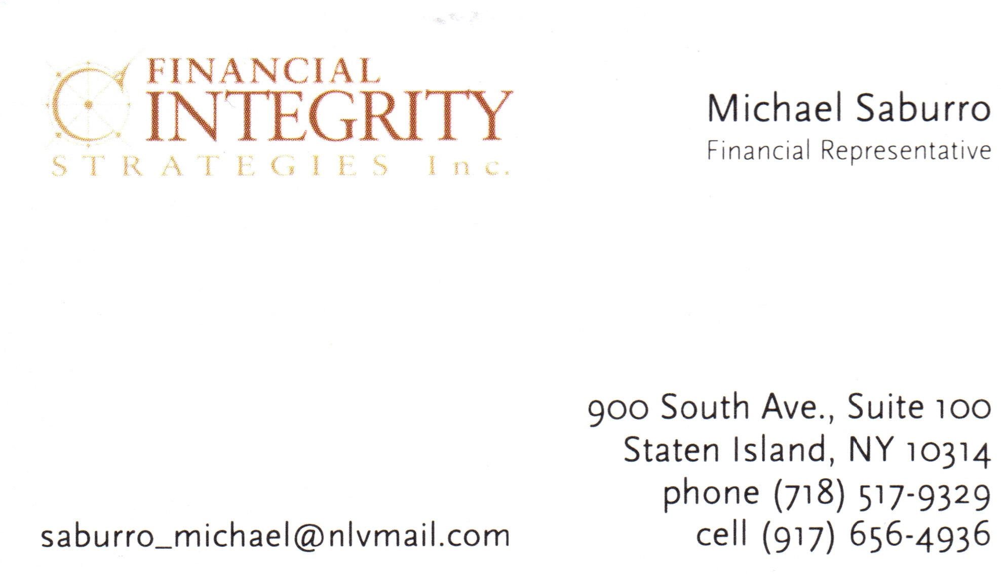Michael Saburro Financial Rep Staten Island Financial Integrity Strategies Inc.j