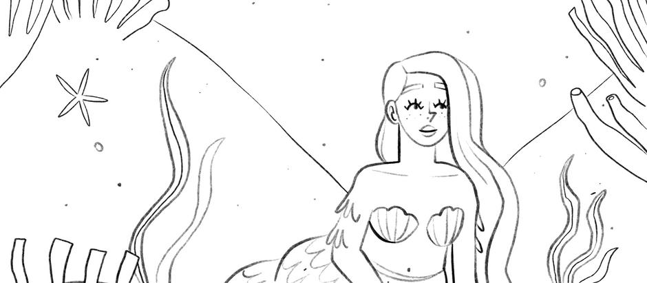 Free mermay coloring page