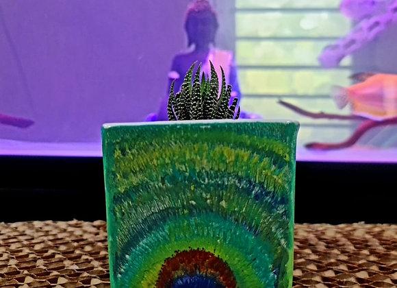 Dance of Peacock,  Hand-painted ceramic flower pot
