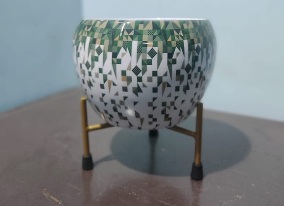 Pattern Round Pot With Stand