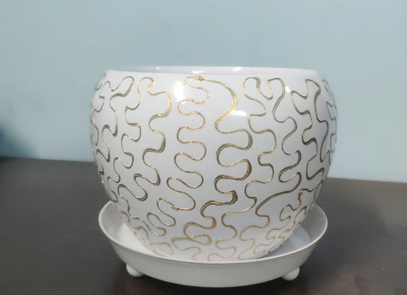 Pattern Round Pot With Stand (White with gold color)