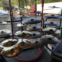 Cymbal assortment for festival