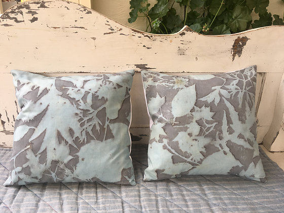 Ecoprinted cushion