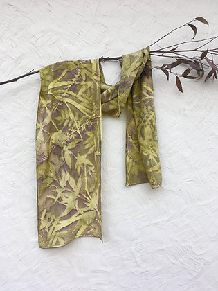 Ecoprinted silk scarf