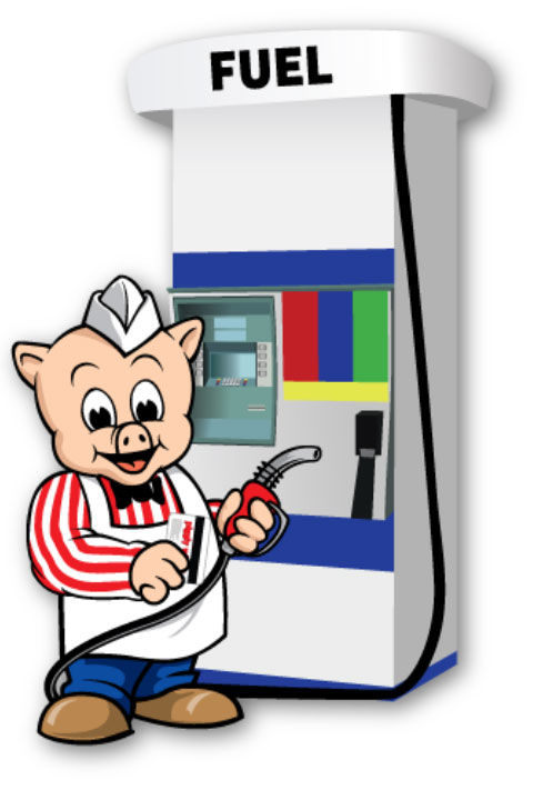 Mr. Pig at the gas pump