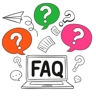 FAQ computer with Question mark thought bubbles