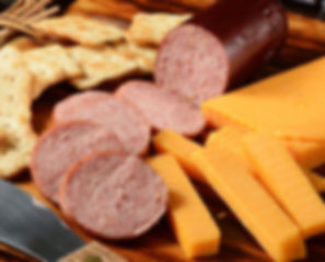 Fox Bros. Summer Sausage with cheese and crackers