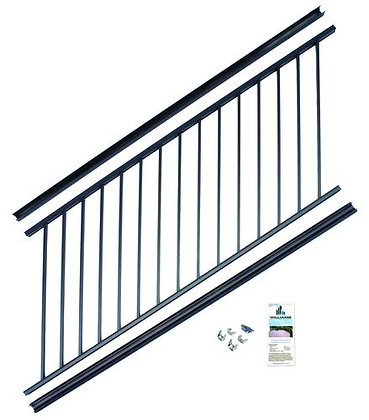"Otoli Preassembled Powder Coated Aluminum Stair Panel 36"" x 8' - Black"