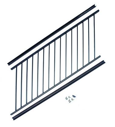 "Otoli Preassembled Powder Coated Aluminum Stair Panel 36"" x 6' - Black"