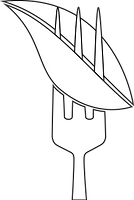 Fork holding leaf graphic