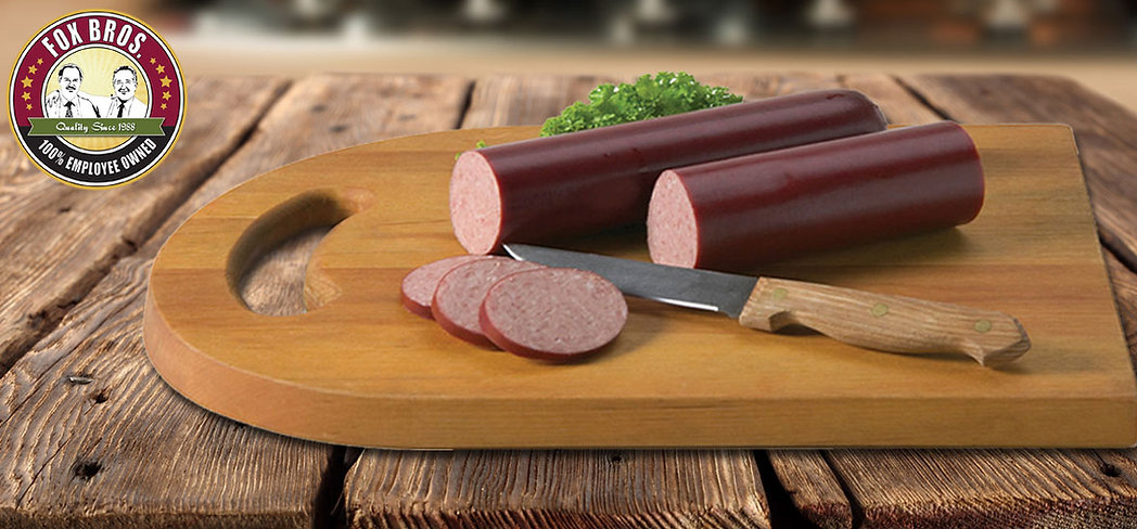 Fox Bros Summer Sausage on cutting board page header