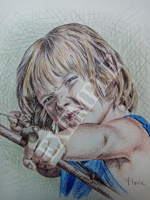 Portrait sur commande d'après photo  - Crayons de couleur