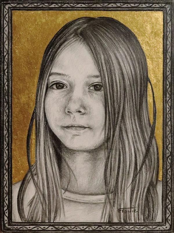 Portrait d'après photo - graphite et feuille d'or sur bois