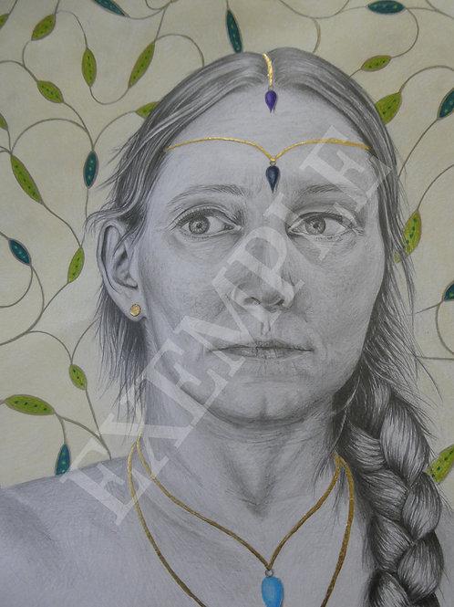 Portrait sur commande d'après photo  - Graphite et crayons de couleur
