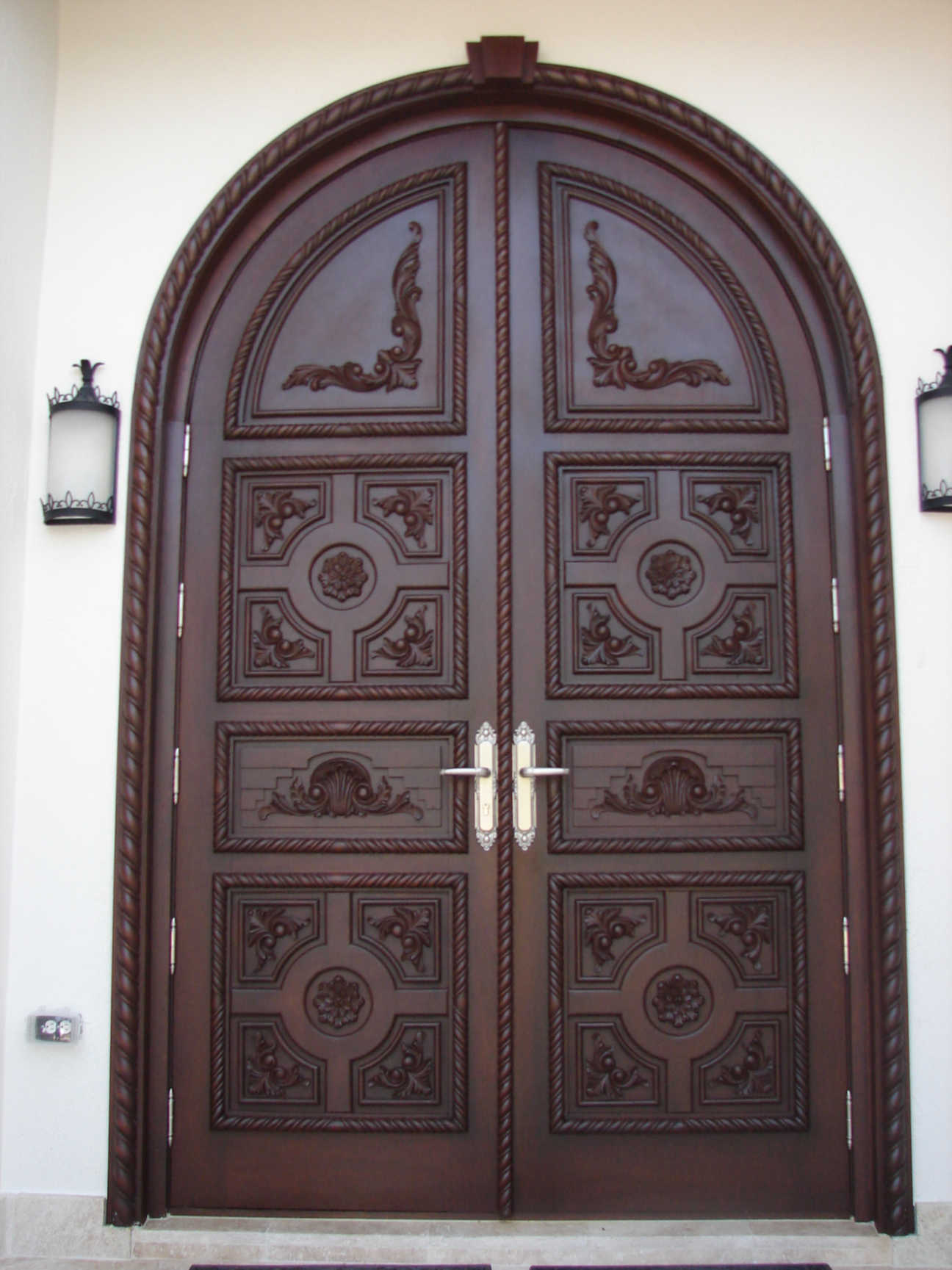 Golden, Mahogany Impact Entry Doors