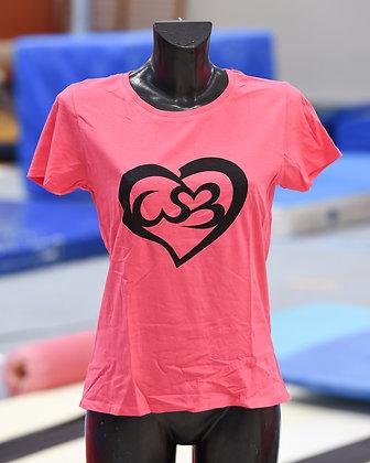 T-shirt rosa con logo nero stampato