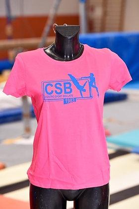T-shirt rosa con logo azzurro stampato